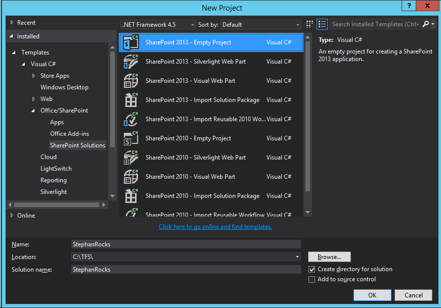 Visual Studio 2013 Premium - Create new Empty SharePoint 2013 Project
