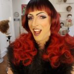 At the Wig Room Training Academy, trying out some wigs and drag makeup