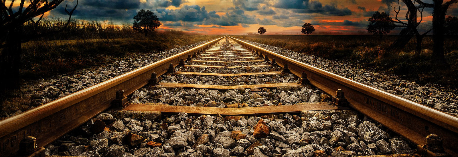 Train tracks off into the distance